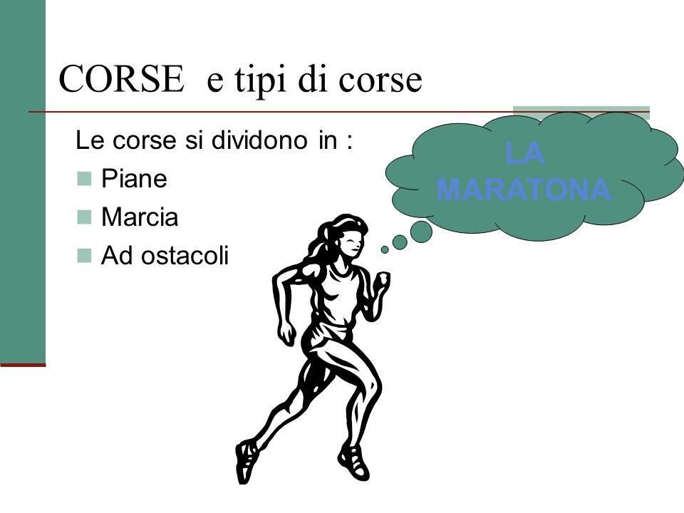 CORSE e tipi di corse LA MARATONA Le corse si dividono in : Piane