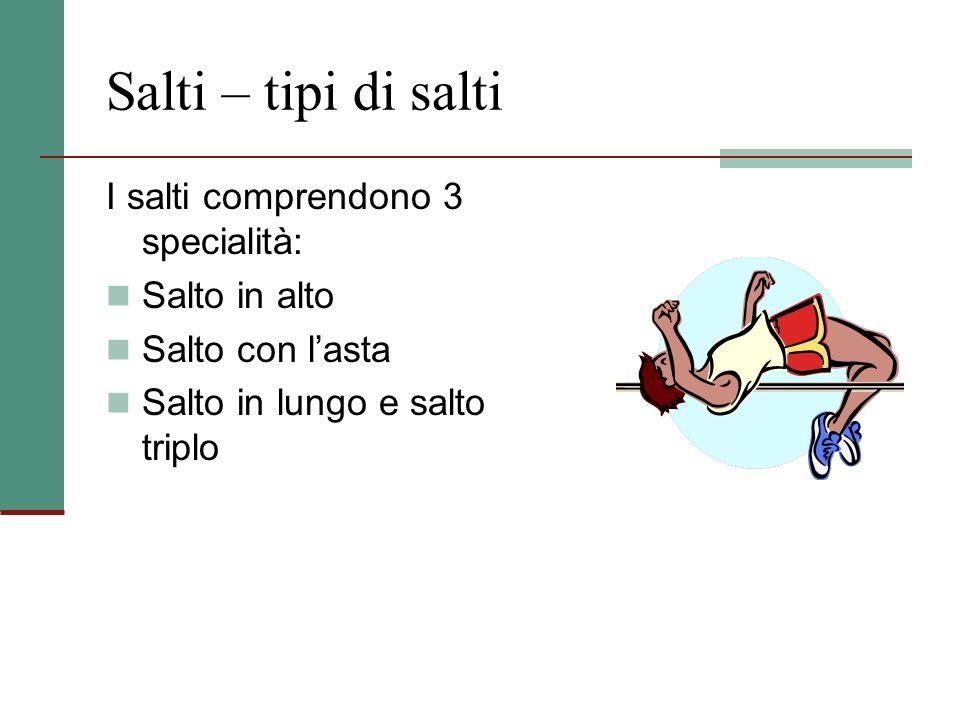 Salti – tipi di salti I salti comprendono 3 specialità: Salto in alto