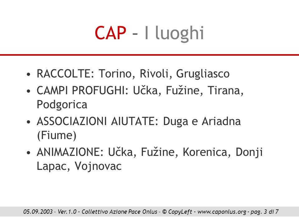 CAP – I luoghi RACCOLTE: Torino, Rivoli, Grugliasco
