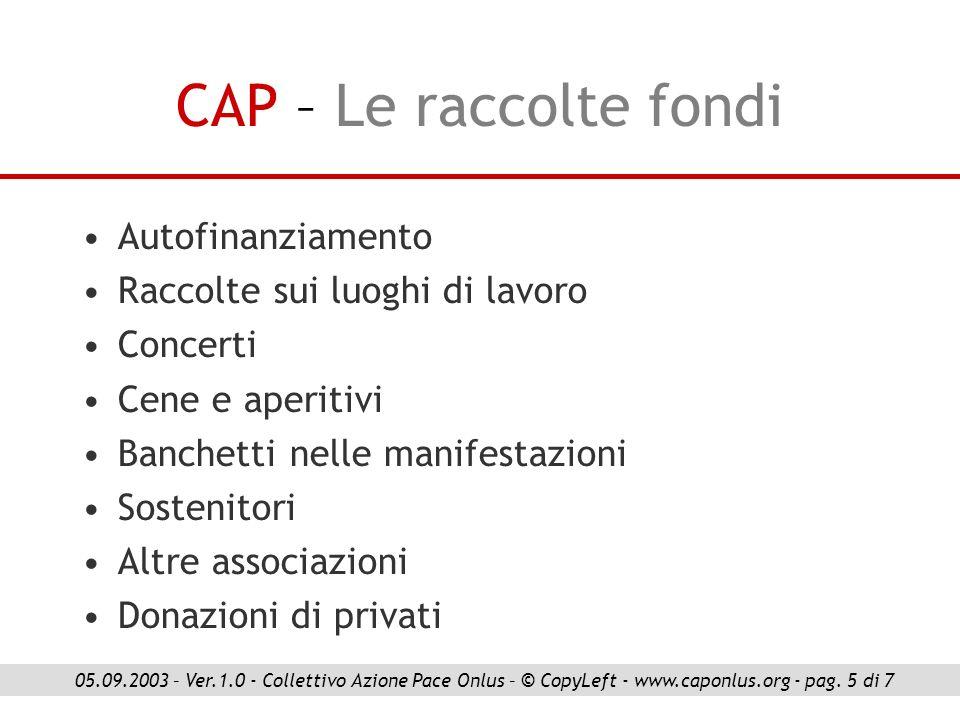 CAP – Le raccolte fondi Autofinanziamento