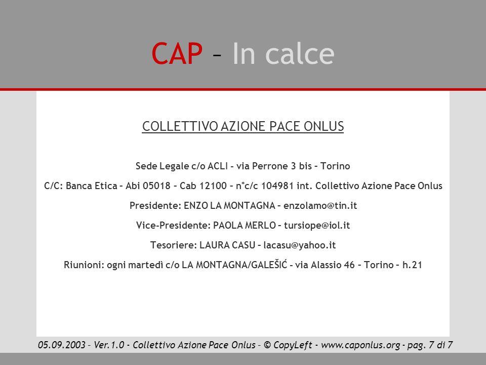 CAP – In calce COLLETTIVO AZIONE PACE ONLUS