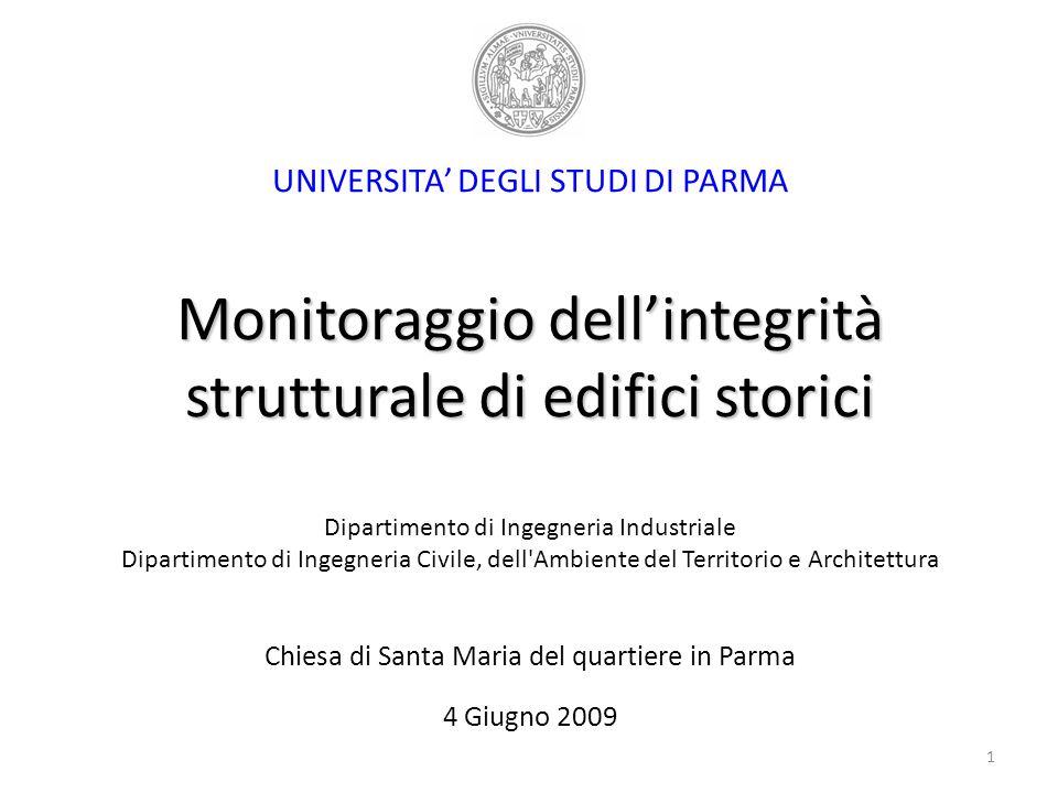 UNIVERSITA' DEGLI STUDI DI PARMA Monitoraggio dell'integrità strutturale di edifici storici Dipartimento di Ingegneria Industriale Dipartimento di Ingegneria Civile, dell Ambiente del Territorio e Architettura Chiesa di Santa Maria del quartiere in Parma 4 Giugno 2009