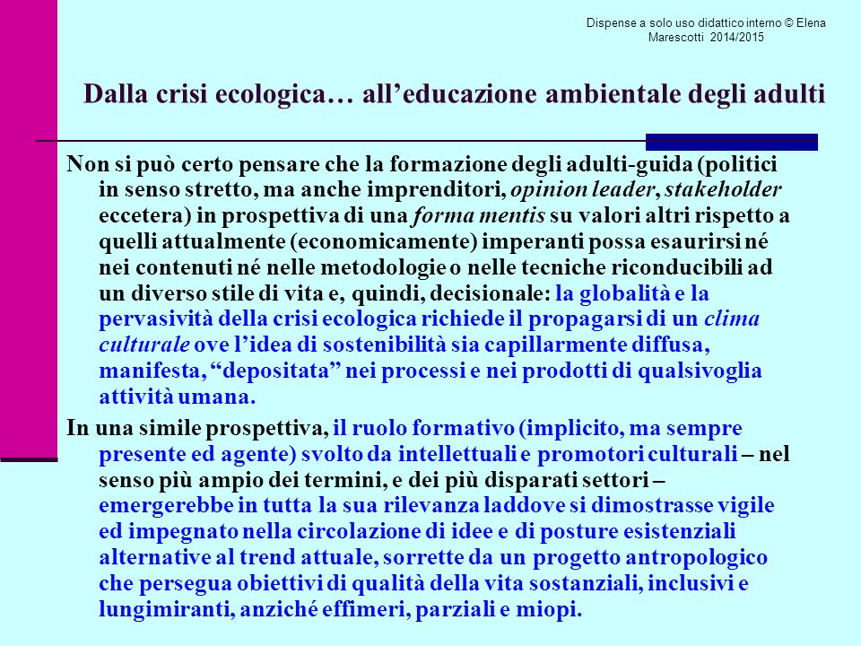 Dalla crisi ecologica… all'educazione ambientale degli adulti