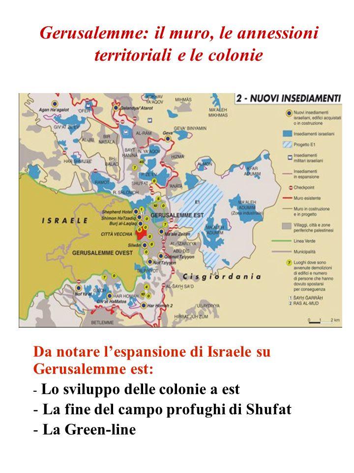 Gerusalemme: il muro, le annessioni territoriali e le colonie