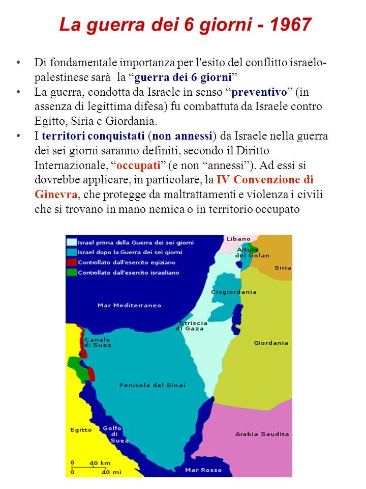 La guerra dei 6 giorni - 1967Di fondamentale importanza per l esito del conflitto israelo-palestinese sarà la guerra dei 6 giorni
