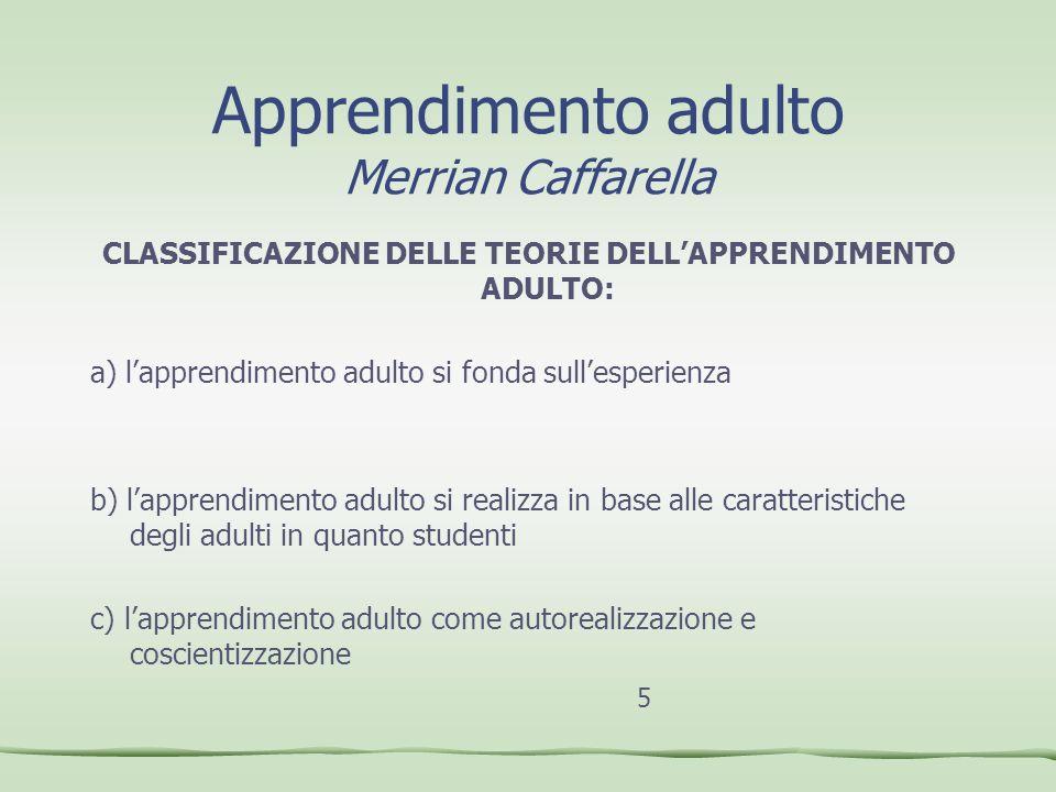 Apprendimento adulto Merrian Caffarella