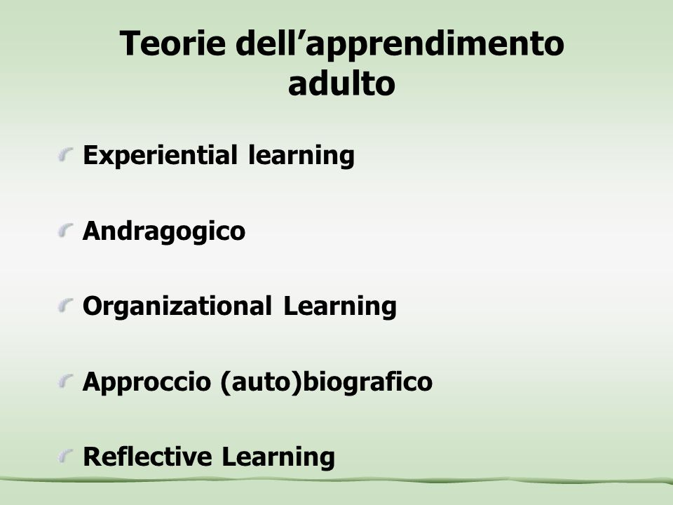 Teorie dell'apprendimento adulto