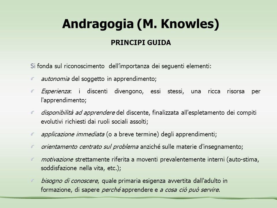 Andragogia (M. Knowles) PRINCIPI GUIDA
