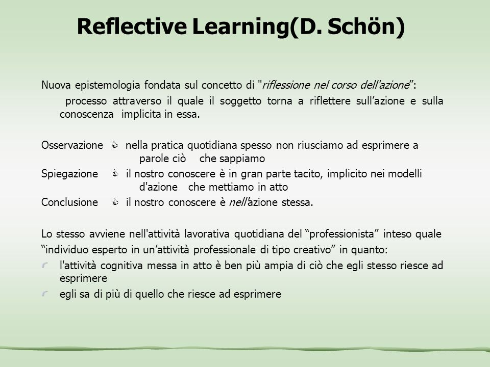 Reflective Learning(D. Schön)