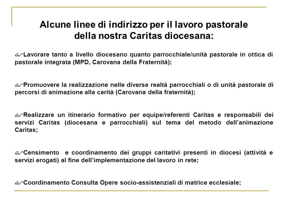 Alcune linee di indirizzo per il lavoro pastorale della nostra Caritas diocesana: