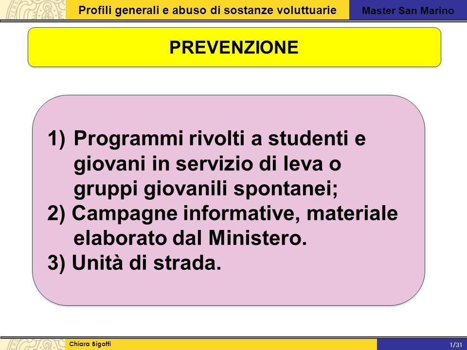 2) Campagne informative, materiale elaborato dal Ministero.