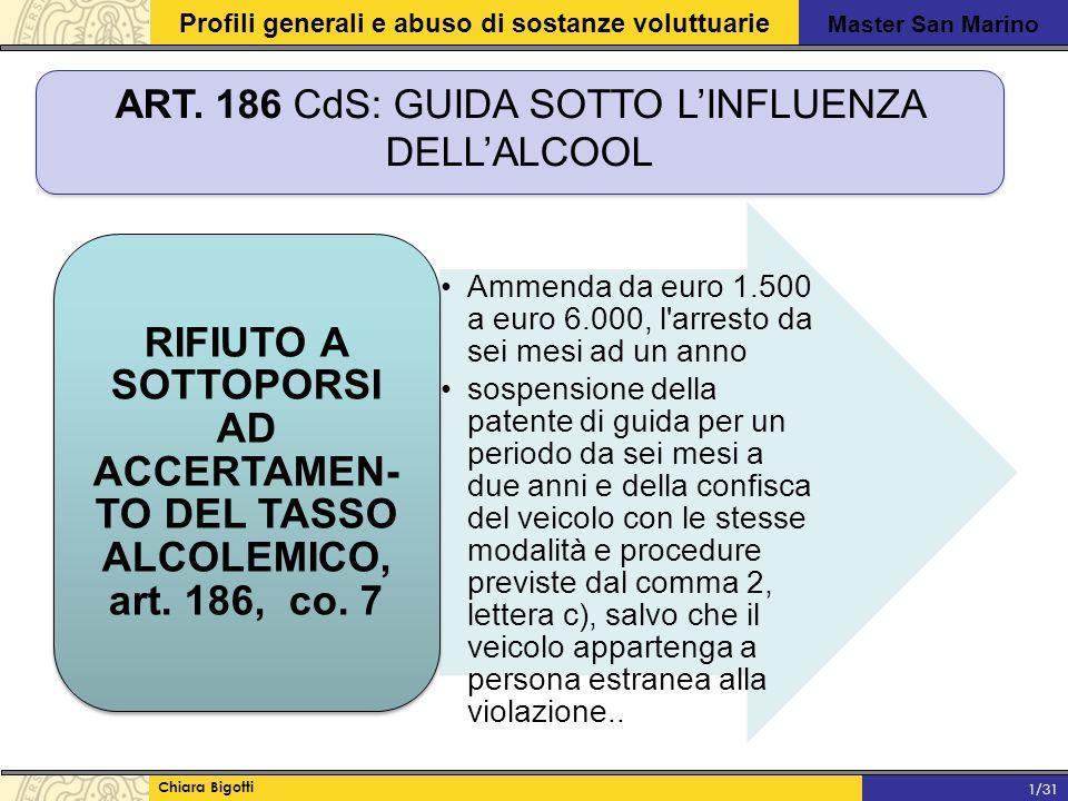 ART. 186 CdS: GUIDA SOTTO L'INFLUENZA DELL'ALCOOL