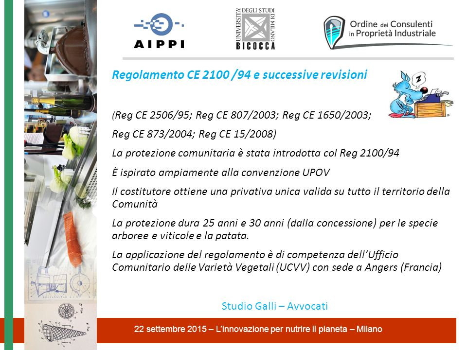 Regolamento CE 2100 /94 e successive revisioni