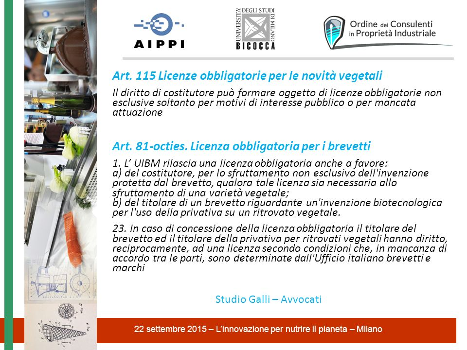 Art. 115 Licenze obbligatorie per le novità vegetali