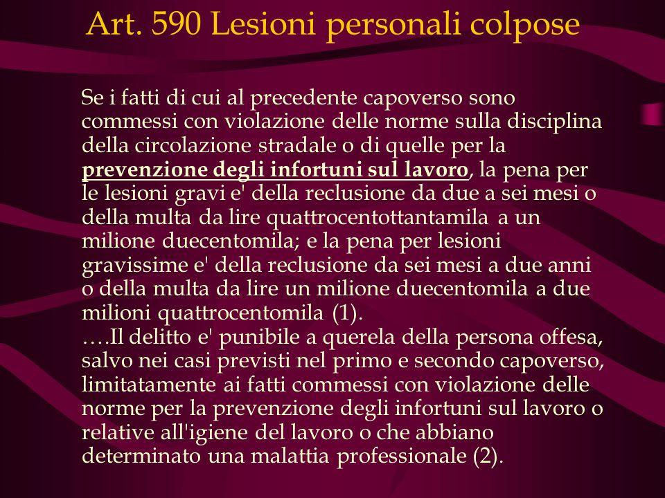 Art. 590 Lesioni personali colpose