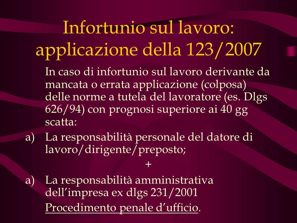 Infortunio sul lavoro: applicazione della 123/2007