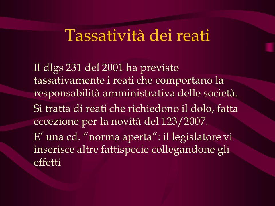 Tassatività dei reati Il dlgs 231 del 2001 ha previsto tassativamente i reati che comportano la responsabilità amministrativa delle società.