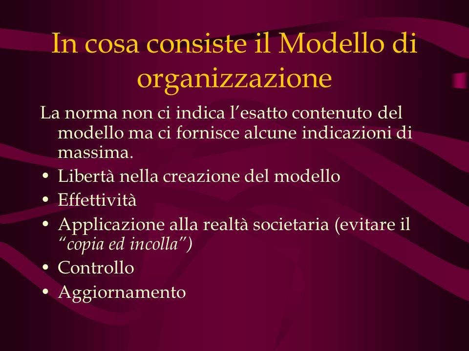 In cosa consiste il Modello di organizzazione