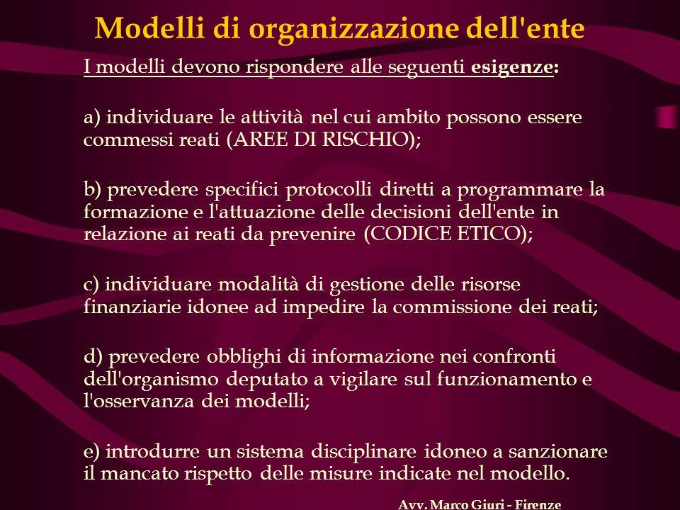 Modelli di organizzazione dell ente