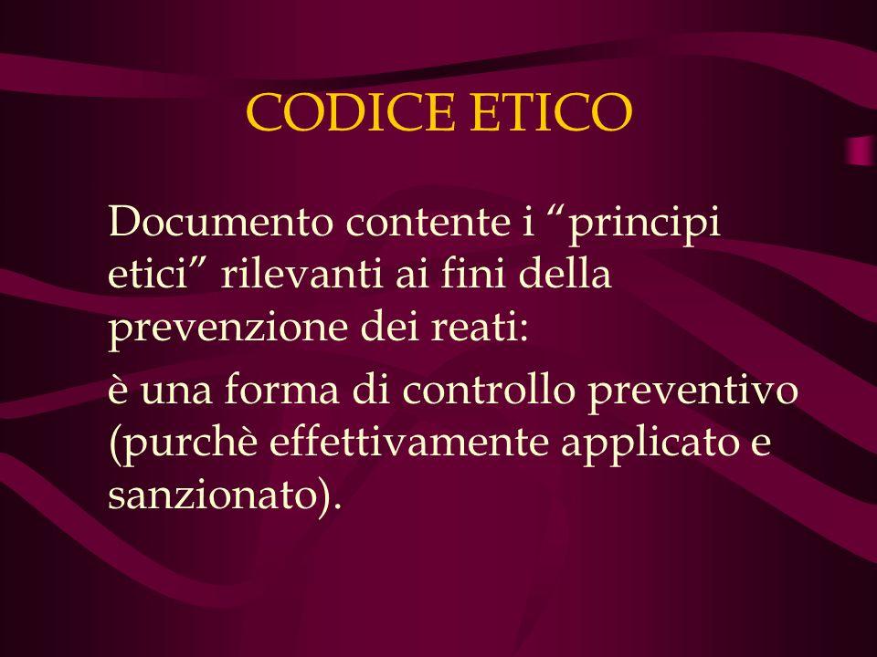 CODICE ETICO Documento contente i principi etici rilevanti ai fini della prevenzione dei reati: