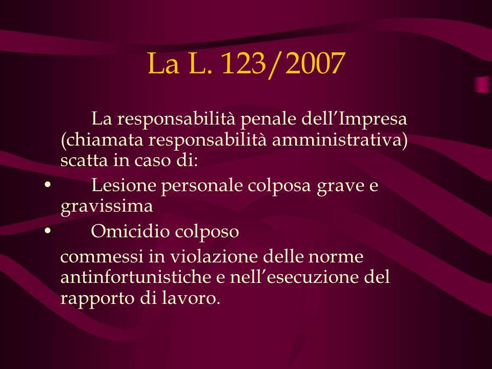 La L. 123/2007La responsabilità penale dell'Impresa (chiamata responsabilità amministrativa) scatta in caso di: