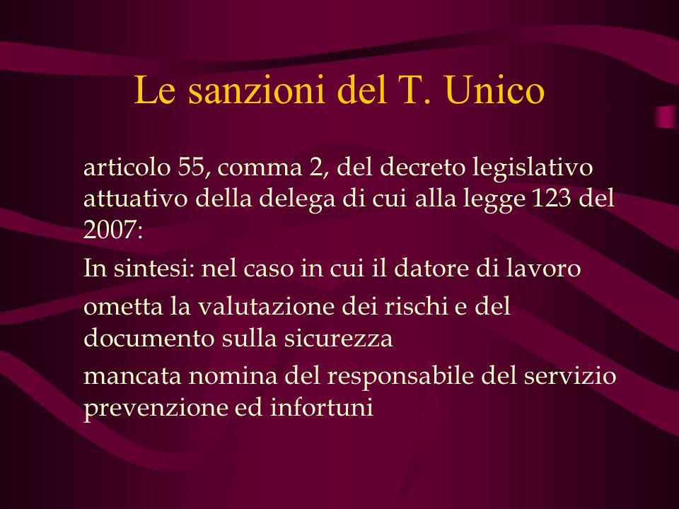 Le sanzioni del T. Unico articolo 55, comma 2, del decreto legislativo attuativo della delega di cui alla legge 123 del 2007: