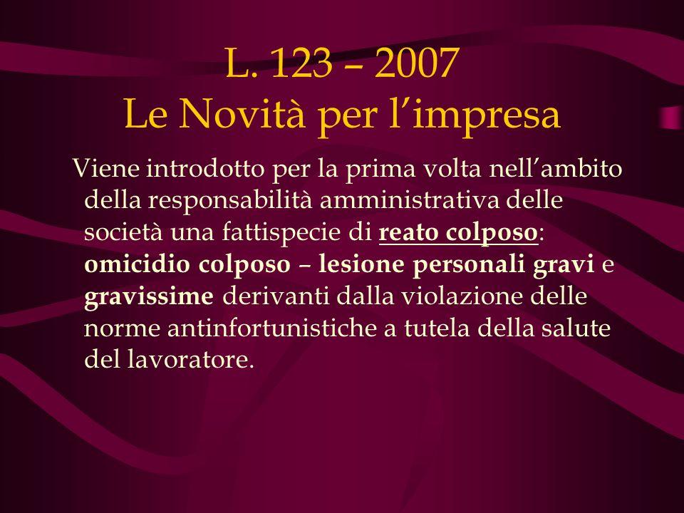 L. 123 – 2007 Le Novità per l'impresa