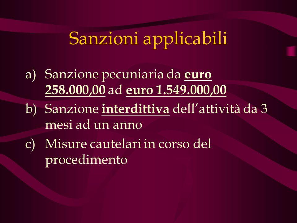 Sanzioni applicabili Sanzione pecuniaria da euro 258.000,00 ad euro 1.549.000,00. Sanzione interdittiva dell'attività da 3 mesi ad un anno.