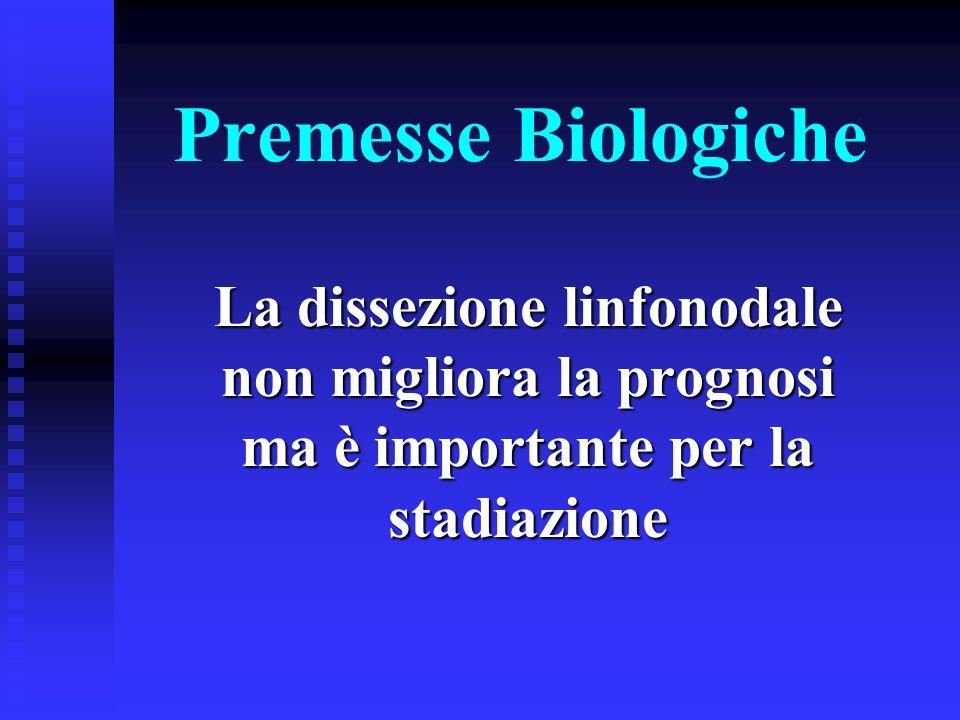 Premesse Biologiche La dissezione linfonodale non migliora la prognosi ma è importante per la stadiazione.