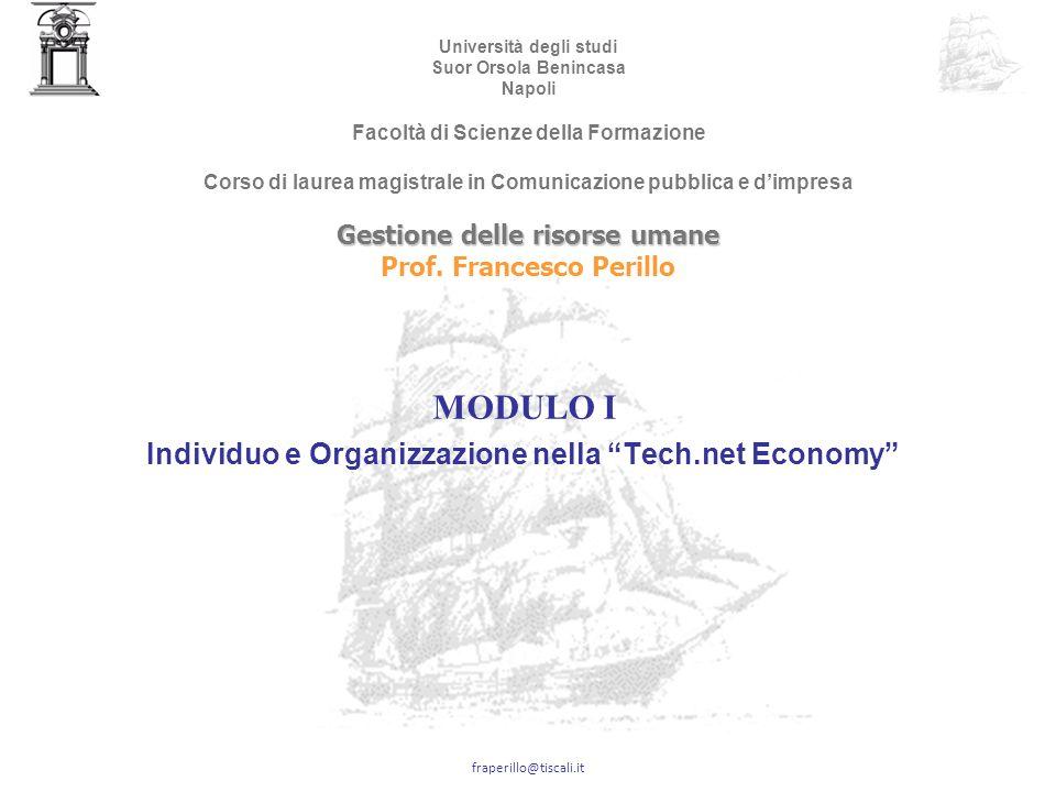 MODULO I Individuo e Organizzazione nella Tech.net Economy