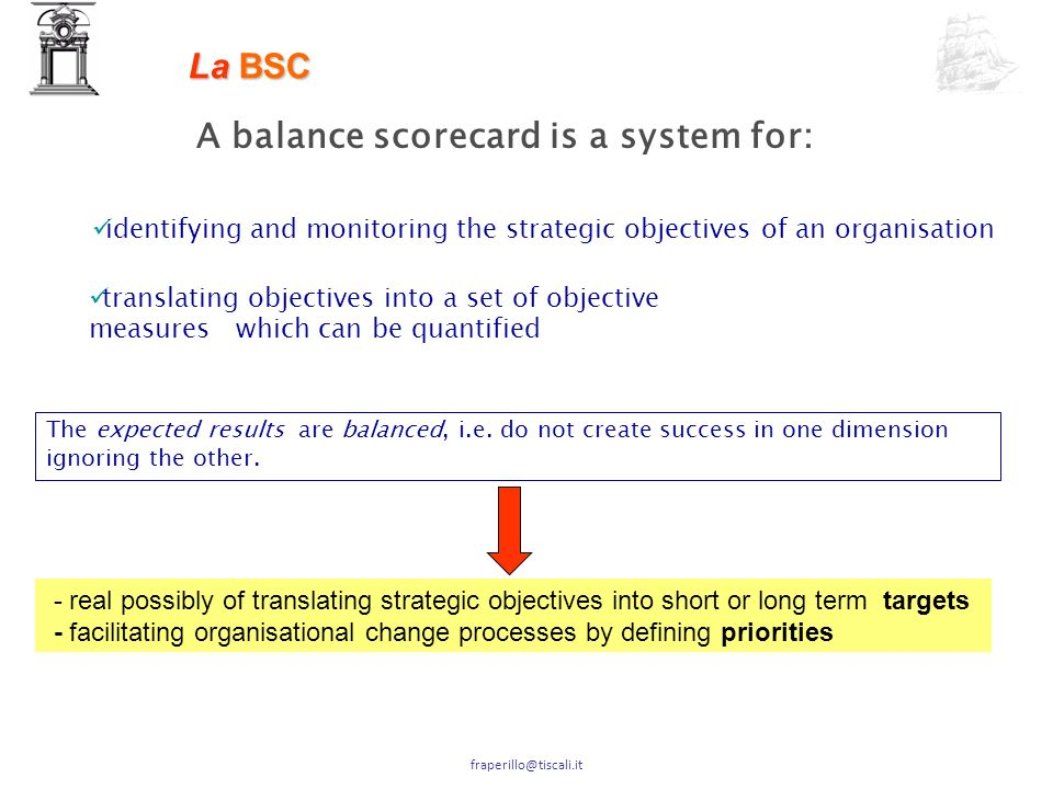 A balance scorecard is a system for: