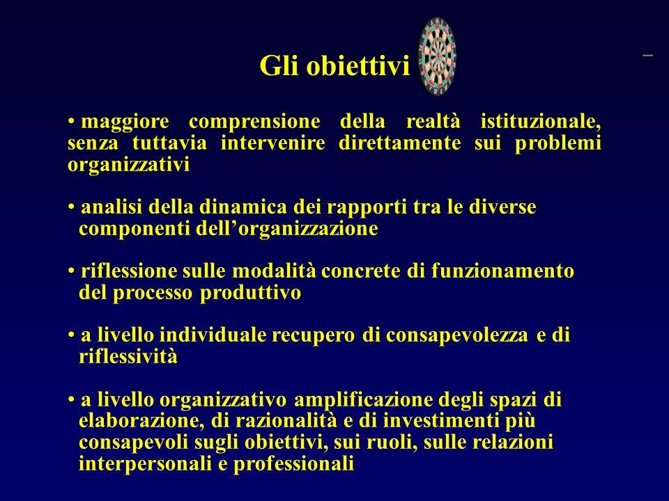 Gli obiettivi maggiore comprensione della realtà istituzionale, senza tuttavia intervenire direttamente sui problemi organizzativi.