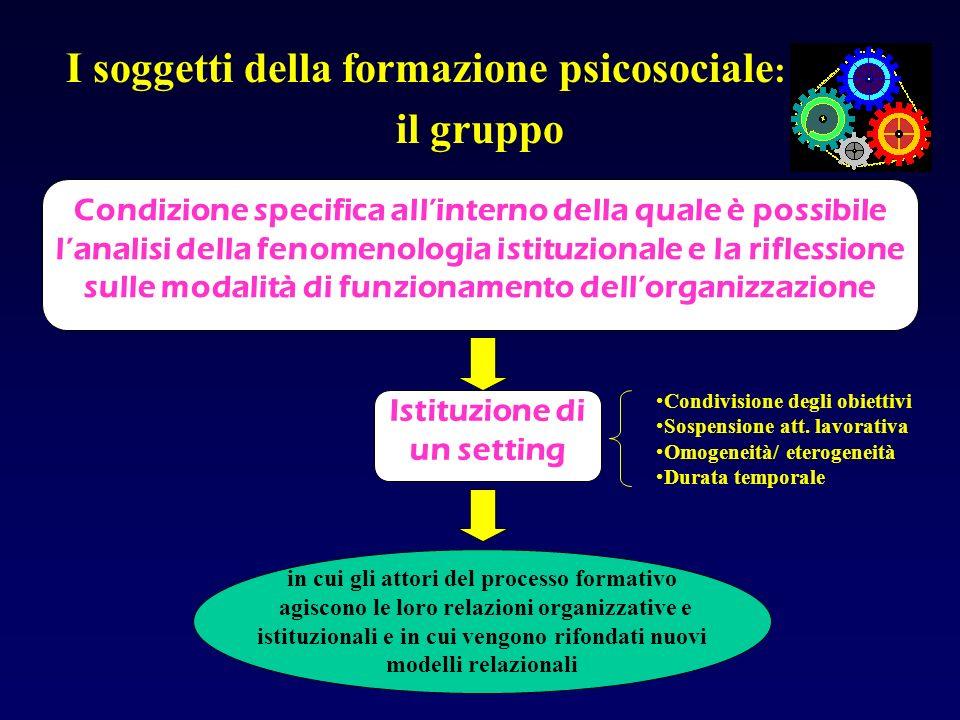 il gruppo I soggetti della formazione psicosociale: