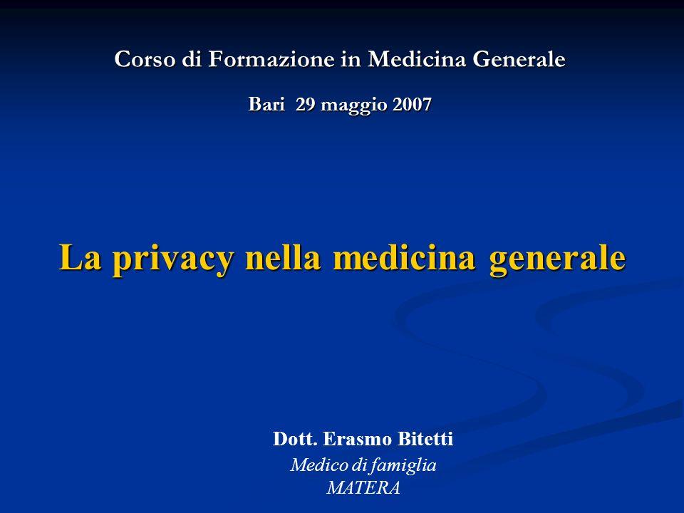 Corso di Formazione in Medicina Generale Bari 29 maggio 2007