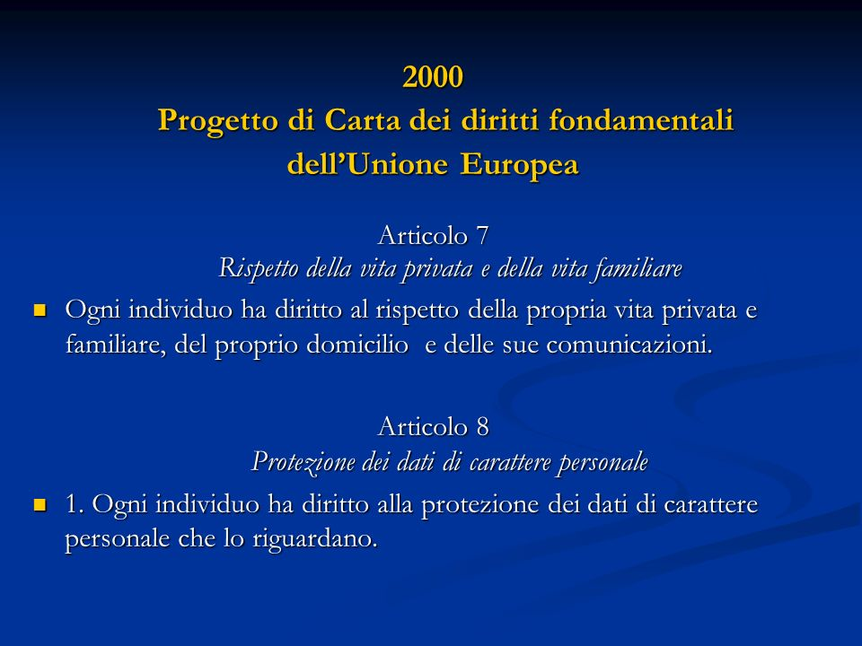 Progetto di Carta dei diritti fondamentali