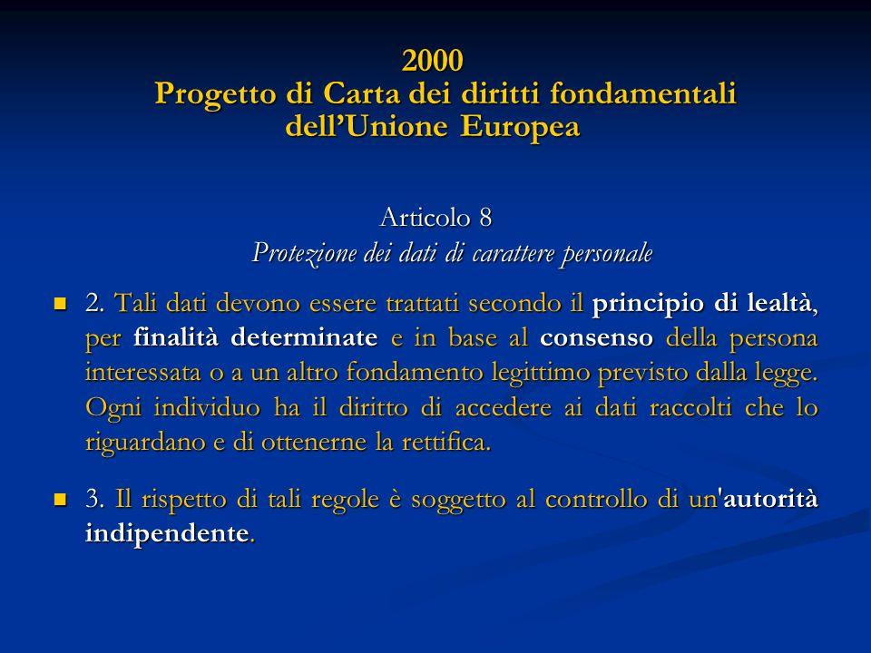 2000 Progetto di Carta dei diritti fondamentali dell'Unione Europea