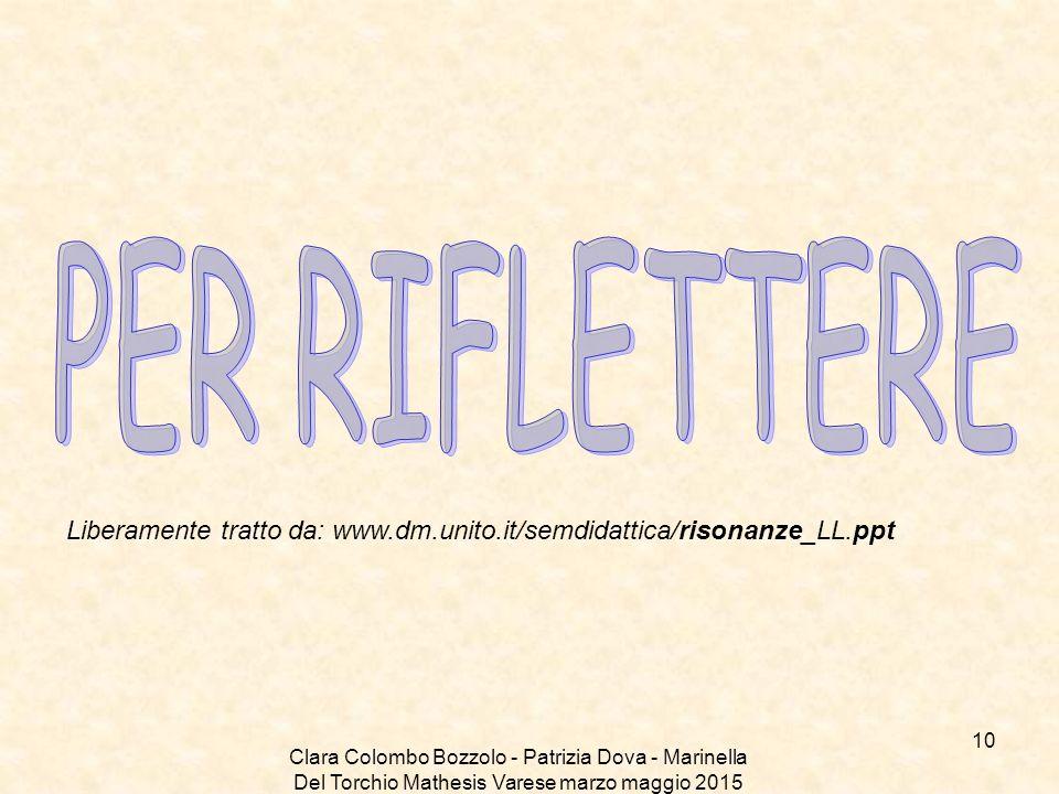 PER RIFLETTERE Liberamente tratto da: www.dm.unito.it/semdidattica/risonanze_LL.ppt.