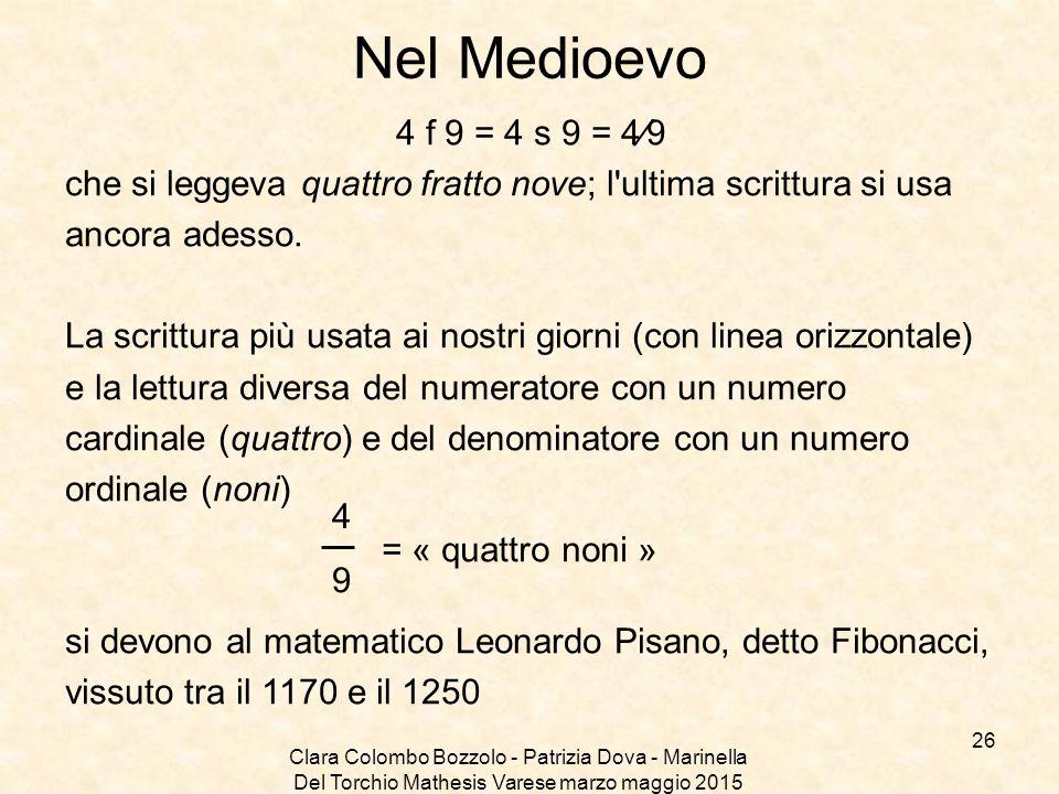 Nel Medioevo 4 f 9 = 4 s 9 = 4⁄9. che si leggeva quattro fratto nove; l ultima scrittura si usa. ancora adesso.