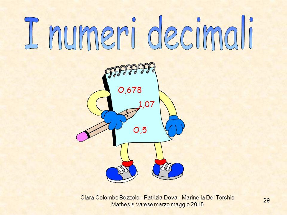 I numeri decimali O,678. 1,07. O,5.