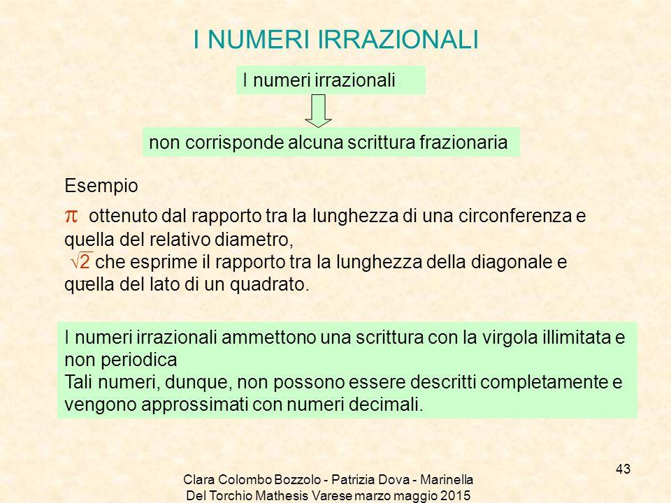I NUMERI IRRAZIONALI I numeri irrazionali. non corrisponde alcuna scrittura frazionaria. Esempio.