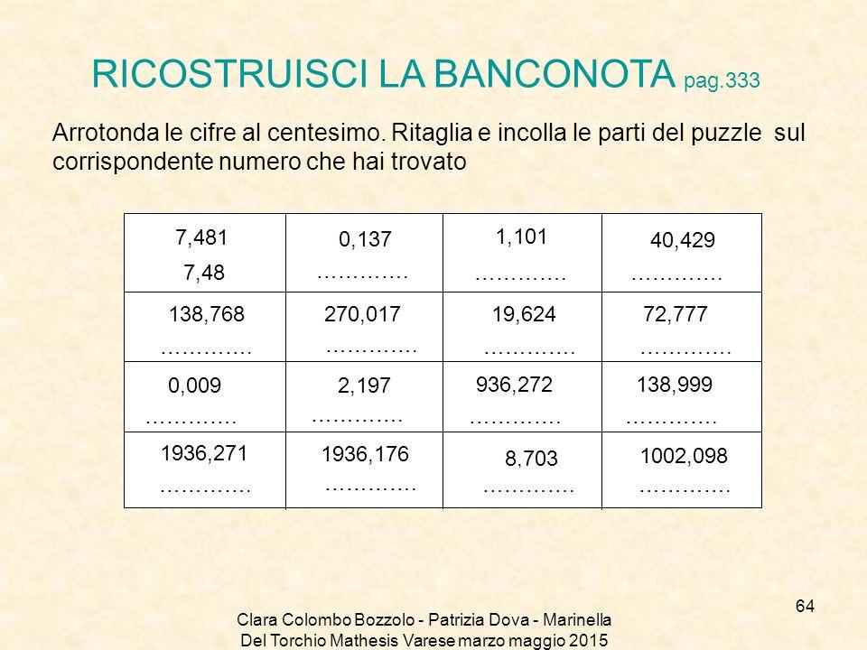 RICOSTRUISCI LA BANCONOTA pag.333