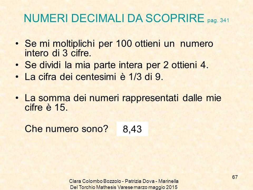 NUMERI DECIMALI DA SCOPRIRE pag. 341
