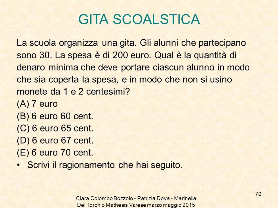 GITA SCOALSTICA La scuola organizza una gita. Gli alunni che partecipano. sono 30. La spesa è di 200 euro. Qual è la quantità di.