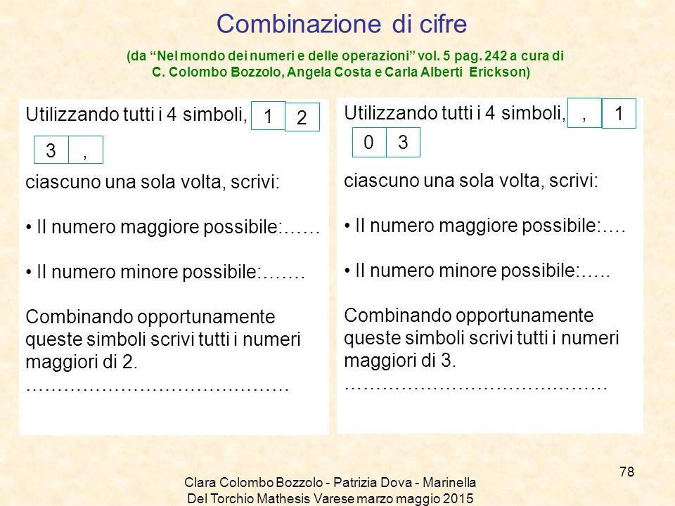 Combinazione di cifre (da Nel mondo dei numeri e delle operazioni vol. 5 pag. 242 a cura di C. Colombo Bozzolo, Angela Costa e Carla Alberti Erickson)