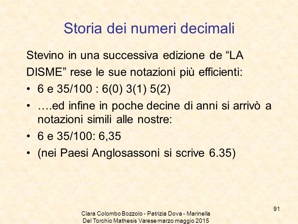Storia dei numeri decimali
