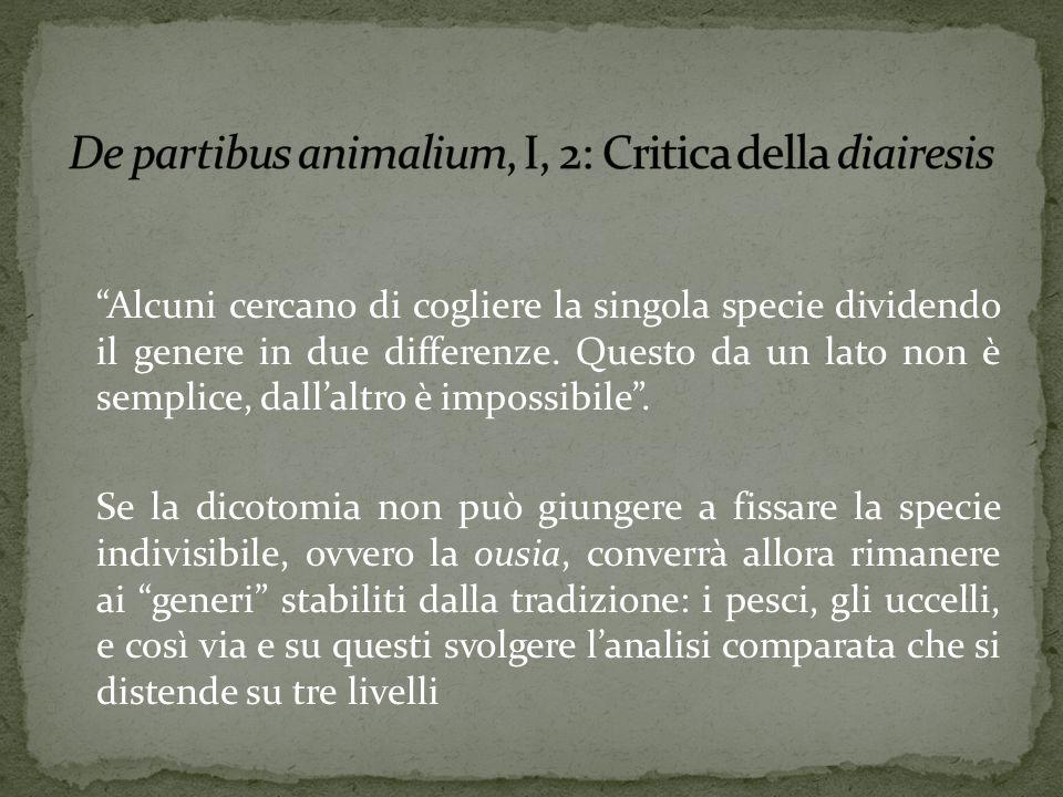 De partibus animalium, I, 2: Critica della diairesis