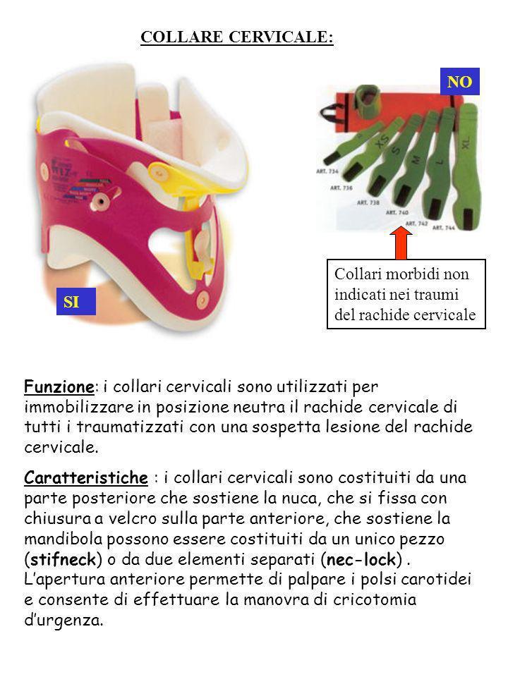 COLLARE CERVICALE:NO. Collari morbidi non indicati nei traumi del rachide cervicale. SI.