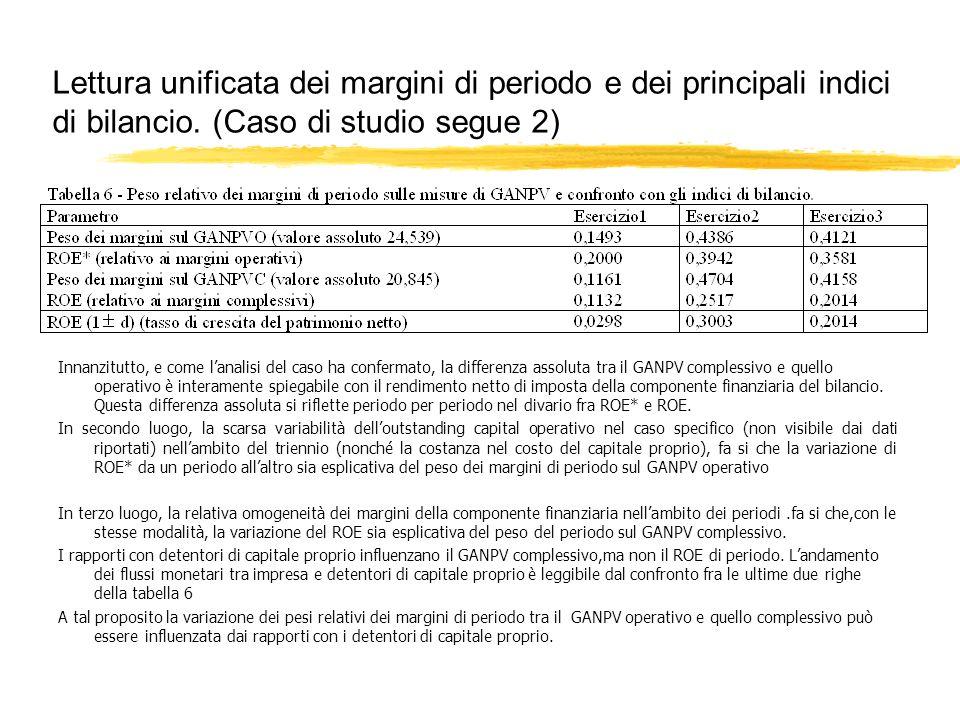 Lettura unificata dei margini di periodo e dei principali indici di bilancio. (Caso di studio segue 2)