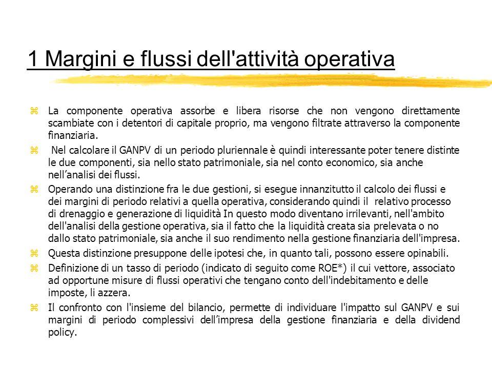 1 Margini e flussi dell attività operativa