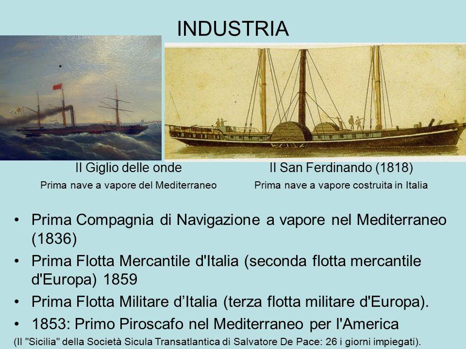 INDUSTRIA . Il Giglio delle onde. Prima nave a vapore del Mediterraneo. Il San Ferdinando (1818)